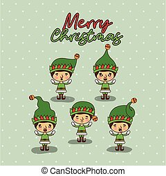 merry christmas card with set of gnome boys with background of snow falling