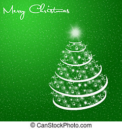Merry Christmas card with snow and tree on green background