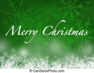 Merry Christmas card with snowflakes on green background