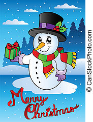 Merry Christmas card with snowman 2