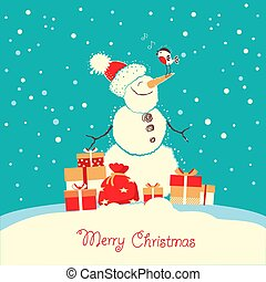 Merry Christmas card with snowman and bullfinch bird in ...