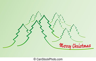 merry christmas card with trees
