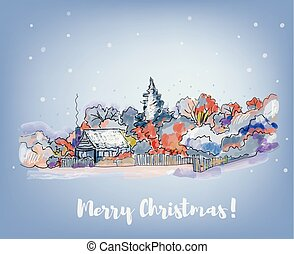 Merry Christmas card with village illustration