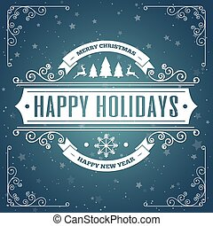 Merry christmas card with vintage label with frame. Vector Illustration