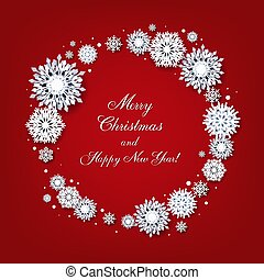 Merry Christmas Card With White Snowflakes