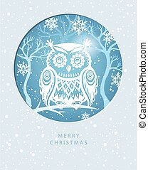 Merry Christmas card with with an owl