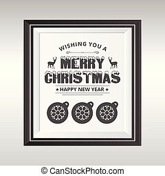 Merry Christmas card witrh dark typographic and frame