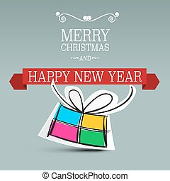 Merry Christmas Card. Xmas Background. Vector New Year Decoration Illustration. Paper Gift Box.
