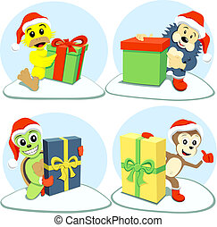merry christmas cartoon animals