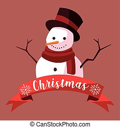 merry christmas cartoon snowman with hat greeting card
