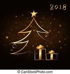 Merry Christmas celebration abstract background with gold Xmas tree. Decorative golden gift box, balls, star. Simple sketch card, greeting. Shine light Happy New Year decoration Vector illustration