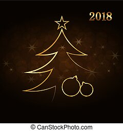 Merry Christmas celebration background, gold Xmas tree. Decorative golden balls, star. Simple sketch card, greeting. Shine light Happy New Year holiday decoration Vector illustration