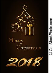 Merry Christmas celebration background, gold Xmas tree. Decorative golden gift box, number 2018, fairy lights. Simple sketch for greeting, Happy New Year holiday card Vector illustration