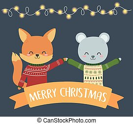 merry christmas celebration cute fox and bear with sweater lights ribbon