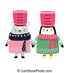merry christmas celebration cute penguin and bear with hat and sweater lights
