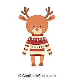 merry christmas celebration cute reindeer with sweater decoration