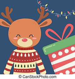 merry christmas celebration cute reindeer with sweater gift and lights