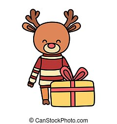 merry christmas celebration cute reindeer with sweater gift