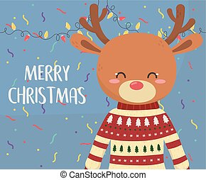 merry christmas celebration cute reindeer with sweater lights and confetti