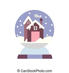 merry christmas celebration gingerbread house in crystal ball snow