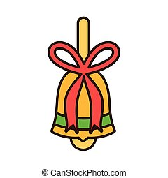 merry christmas celebration gold bell with bow decoration