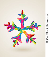 Merry Christmas celebration multicolors snowflake card - ...