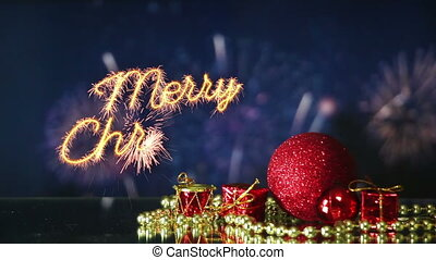 merry christmas celebration with fireworks last 10s loopable