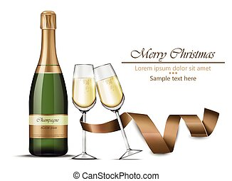 Merry Christmas champagne bottle and glasses Vector realistic