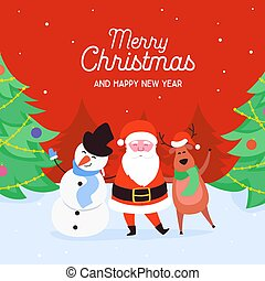 Merry Christmas characters of Santa Claus, Reindeer and Snowman. Happy Winter Holidays New Year greeting card, poster or design template. Vector illustration