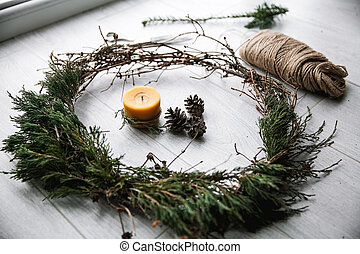 Merry Christmas. Christmas background. Home decoration, crafts. decoration