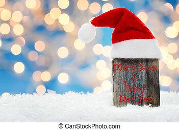 Merry christmas, christmas card with santa hat