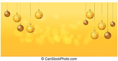 Merry Christmas. Christmas ornaments on gold background.