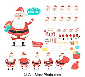 Merry Christmas. Collection of Santa Claus Icons