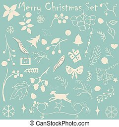 Merry Christmas Collection with various holiday elements. Pastel Beige. Designer's kit for creating simple an subtle designs. Vector Illustration