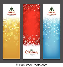 Merry Christmas colorful banners design vertical