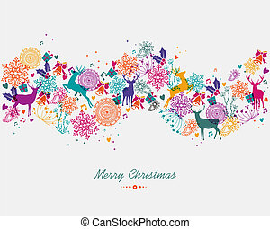 Merry Christmas colorful garland banner