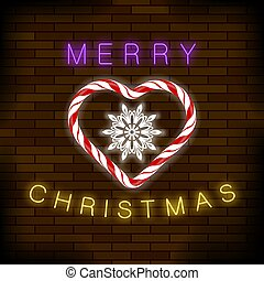 Merry Christmas Colorful Neon Sign with Candy Heart on Brick...