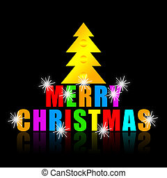 Merry Christmas colorful phrase and golden Christmas tree on...