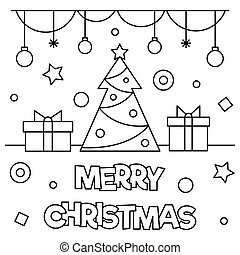 Merry Christmas. Coloring page. Vector illustration. - Merry...