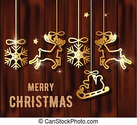 Merry christmas composition with golden decorations hanging