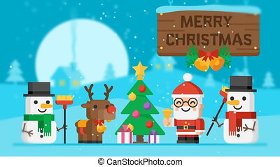 Merry Christmas Concept Santa Claus Reindeer Snowmen and Christmas Tree. Motion Graphics. Video Greeting.