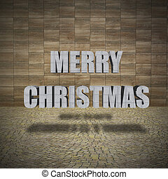 Merry Christmas, Concrete wall with pavement