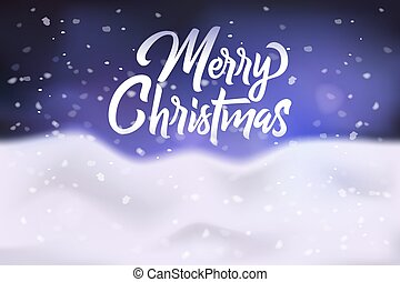 Merry Christmas congratulation banner, poster, greeting card with snowdrift and falling snowflakes on dark blue sky, vector illustration