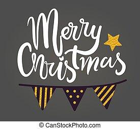 Merry Christmas Congratulation Vector Illustration