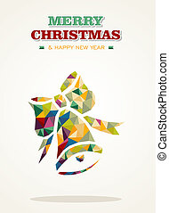 Merry Christmas and Happy New Year 2014 contemporary colorful triangle bell card. EPS10 vector file organized in layers for easy editing.