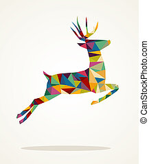 Colorful abstract Christmas jumping reindeer triangle composition isolated. EPS10 vector file organized in layers for easy editing.