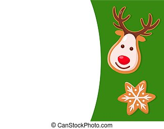 Merry Christmas Cookie, Deer and Snowflake Vector