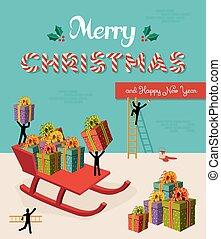 Merry Christmas creative teamwork concept illustration