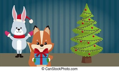 Merry christmas cute animals HD animation
