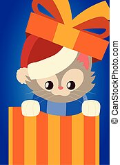 merry christmas cute cat with santa hat in gift box cartoon
